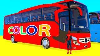 Video LEARN COLOR BUS w Fun Golf Cars - Superheroes for Kids Spiderman Cartoon 3D Animation MP3, 3GP, MP4, WEBM, AVI, FLV Agustus 2018