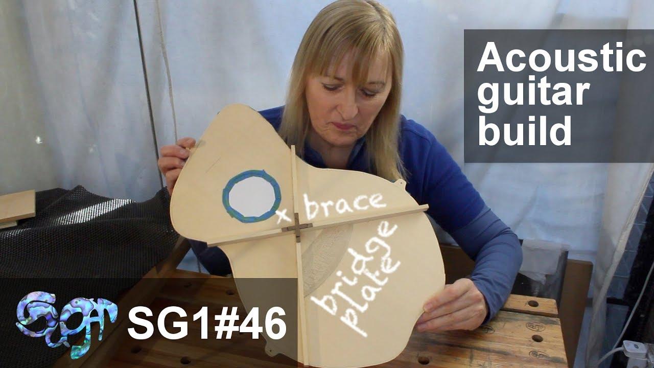SuGar SG1 acoustic guitar build part 46: X brace and bridge plate