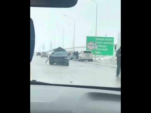 трасса Караганда/Астана из за гололёда ДТП видео