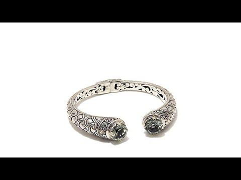 Bali Designs 6ctw Prasiolite 2Tone Scallop Bracelet