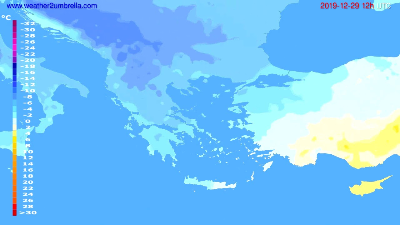 Temperature forecast Greece // modelrun: 12h UTC 2019-12-28