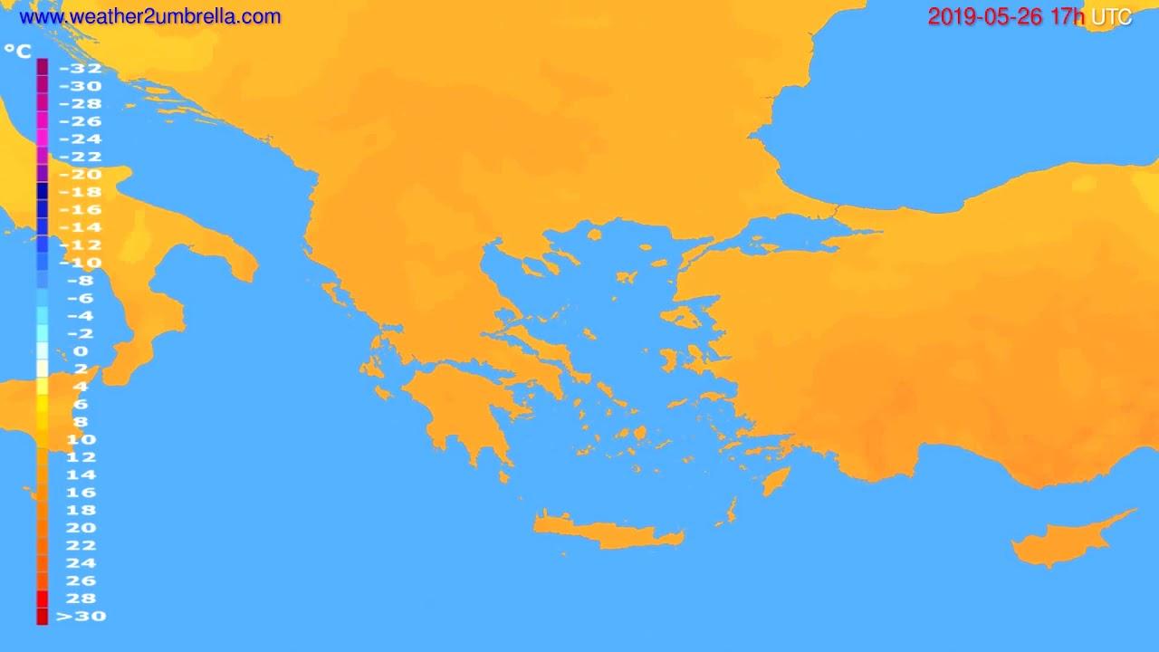 Temperature forecast Greece // modelrun: 00h UTC 2019-05-25