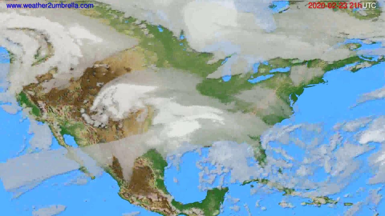 Cloud forecast USA & Canada // modelrun: 12h UTC 2020-02-22