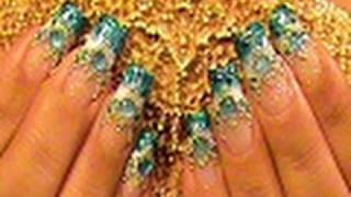 Blue Bead Ombre Gradient Nail Art Design Tutorial Video