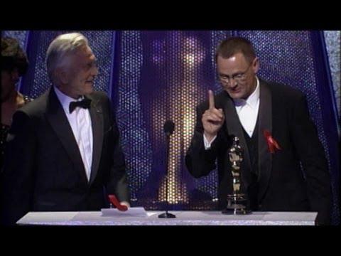 "Janusz Kaminski winning the Oscar® for Cinematography for ""Schindler's List"""