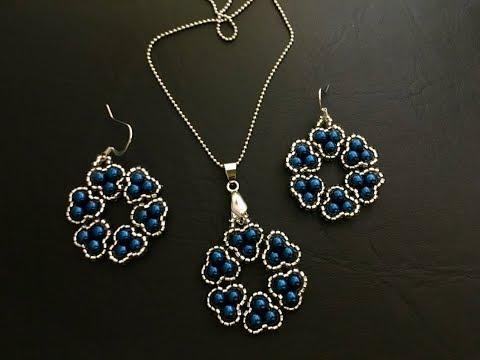 Stylish beaded jewelry set. Pendant & Earrings 💞