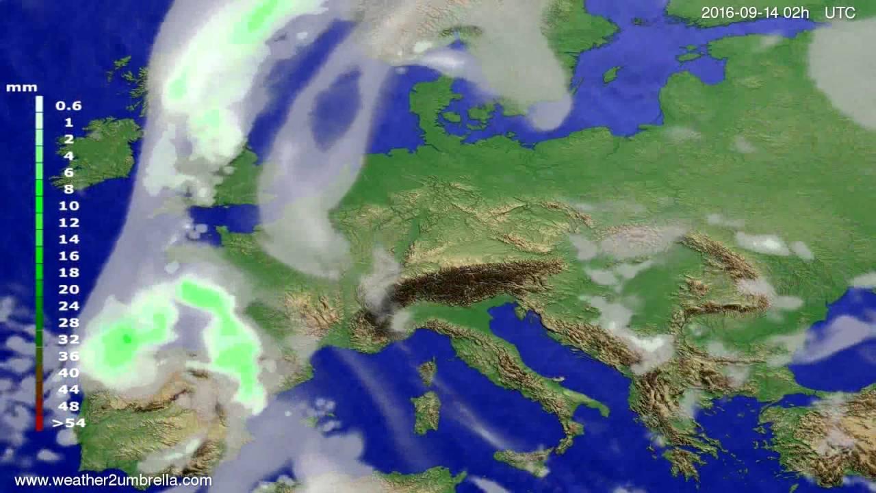 Precipitation forecast Europe 2016-09-10