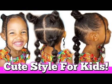 Braid hairstyles - Kid's Hairstyle with Bantu Knots and Bubble Braids!  Back to school hairstyle ideas