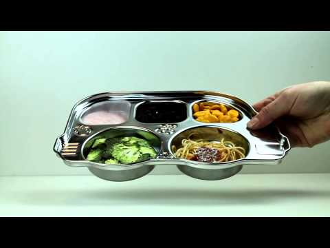 Din Din SMART™ stainless divided platter with sectional lid - blue