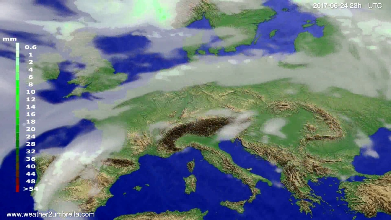 Precipitation forecast Europe 2017-06-21