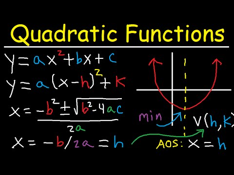 Graphing Quadratic Functions in Vertex & Standard Form - Axis of Symmetry - Word Problems