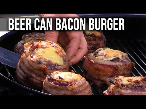 Guy uses beer can to create the best burger meats you've ever seen.