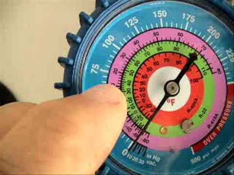 gauges - I show how to read manifold gauges and P/T chart. Attention: Do not try any of what you see in this video at home. It takes at least two years of HVACR schoo...