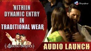 Hero NIthiin Dynamic Entry In Traditional Wear @ #Srinivasakalayanam Audio Lauch Event