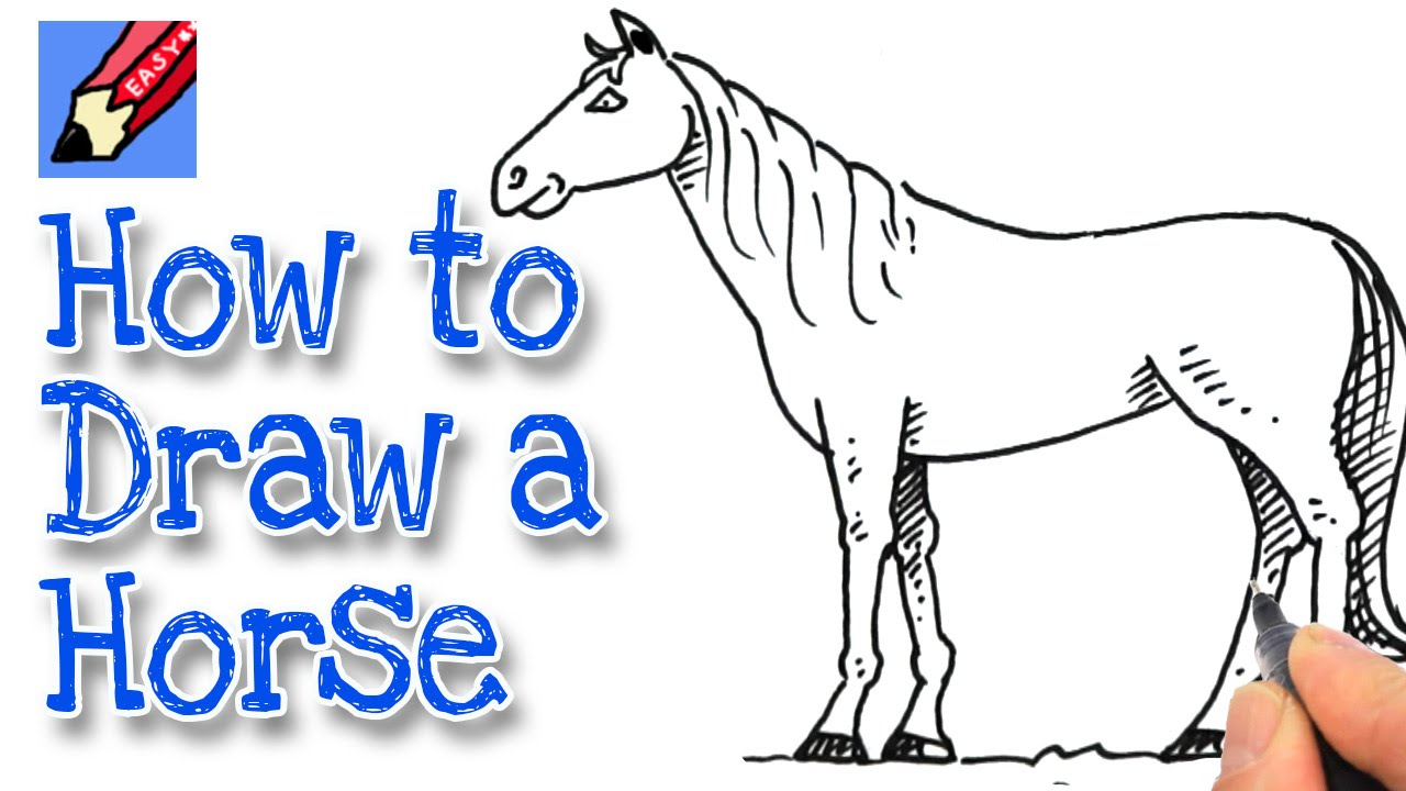 How To Draw A Horse Real Easy #spokentutorial #howtodraw How To Draw A Horse