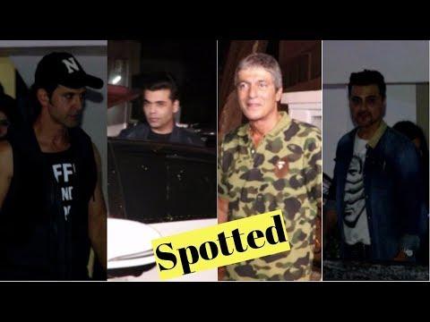Hritik Roshan, Chunky Pandey, Karan Johar & Sanjay Kapoor Spotted At Farhan Akhtar House