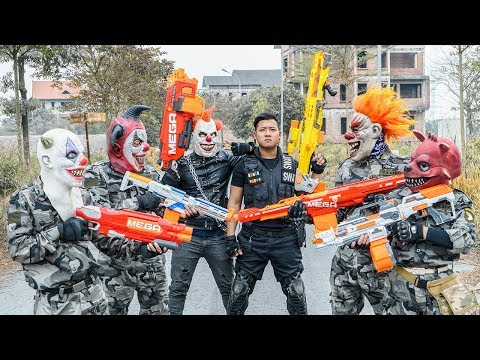 LTT Films : Silver Flash Black Man Nerf Guns Fight Criminal Group Tiger Mask Over War