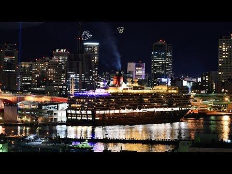 大型客船クイーン・エリザベス神戸出港