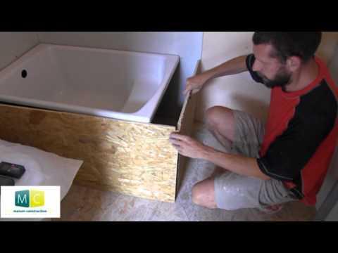 Pose baignoire, installer une baignoire acrylique dans une salle de bain, laying a bathtub
