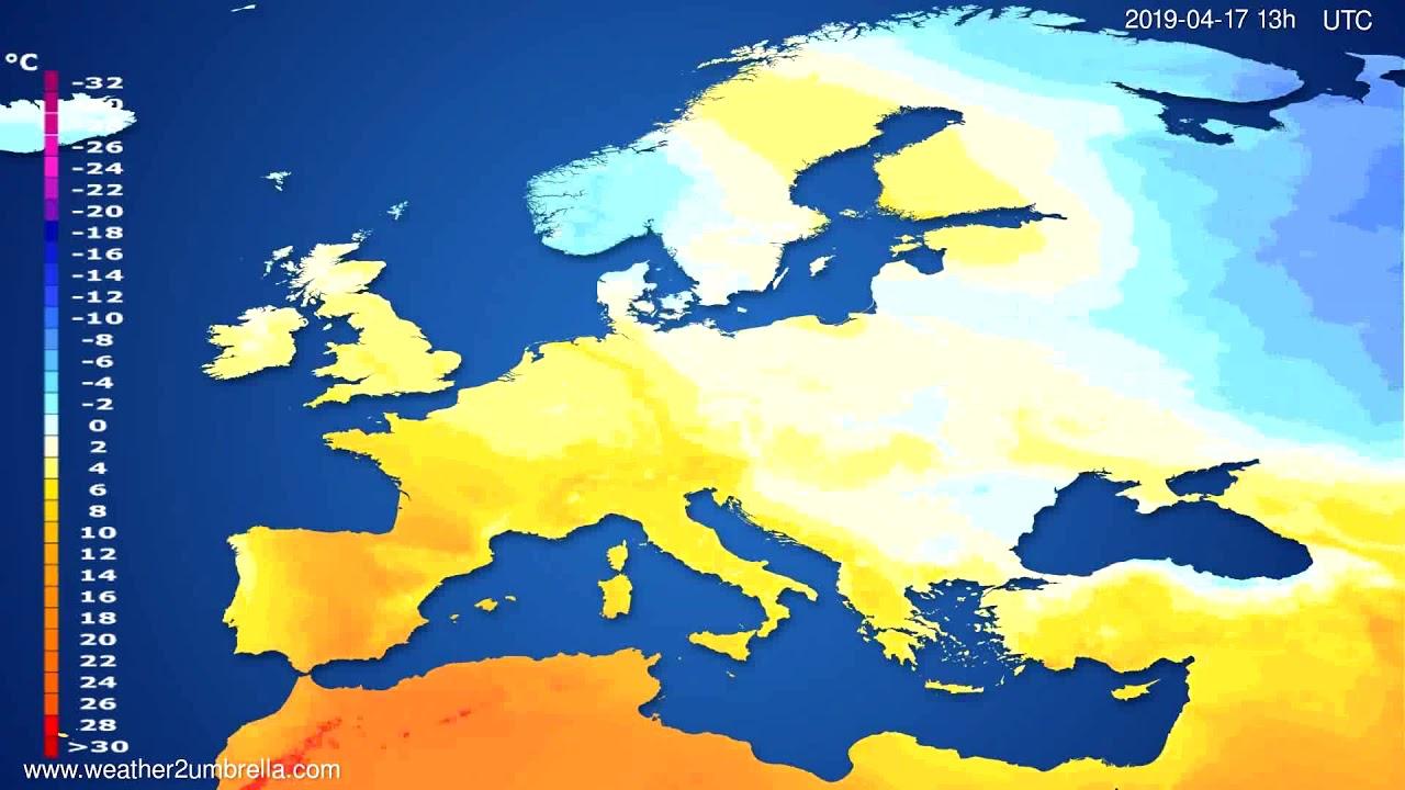 Temperature forecast Europe // modelrun: 12h UTC 2019-04-15
