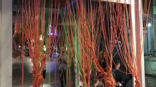 Night swingers in Denver ColoradoElasticated ropes used as art deco to entertain the visitors downtown Denver