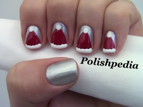 Santa Claus Hat Nail Art