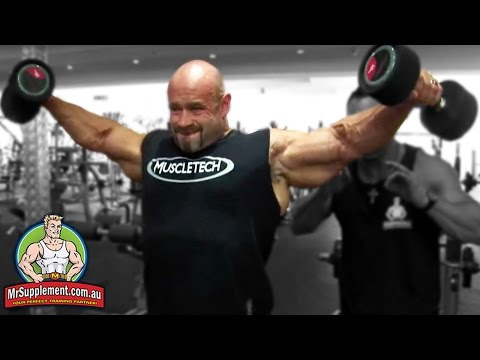 lateral raise - http://www.mrsupplement.com.au - Dumbbell Side Lateral Raise technique with Branch Warren - Arnold Classic Winner. This exercise effectively targets the side...