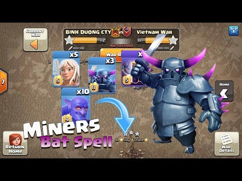 Bowler Witch Lv 5, Bat Spell, Miners With Queen | 3 Stars War Th12 50v50 | Clash Of Clan