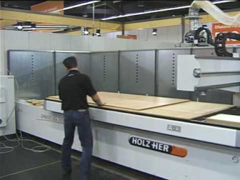 Holz-Her Dynestic CNC machine in action creating a cabinet
