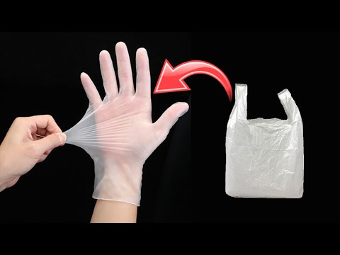 How to Make Disposable Plastic Hand Gloves at home | DIY How to make hand gloves used with carry bag