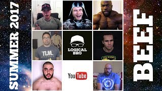 Luimarco & Friends is back with a special episode covering the evolving Summer of 2017 YouTube feetness beef. It seems the recent Order 66's on Kali Muscle made him go FULL BLOHO. This is the biggest assortment of YouTube celebrities in one episode. This time Luimarco welcomed, in no particular order: Kali Muscle, Jason Genova, Jason Blaha, Infinite Elgintensity, Vegan Gains & AlphaDestiny. Lettuce please remain extremely calm as we don't want this beef to spin out of control. This is one episode you won't want to miss. Peace★ My book - topics: the reality of the fitness industry, a simple but effective methodology for increasing muscle mass and strength, basic nutrition, and many common and practical questions posed by beginners. Included - a push/pull/legs workout routine and a full body workout routine. - https://www.amazon.com/Strength-Hypertrophy-Beginners-Bodybuilding-ebook/dp/B00F7HDP12★ Push/Pull/Legs Program for Beginners: http://www.youtube.com/watch?v=jTQjWyAK8Rk&feature=share&list=PLvMXUlegviqnlmcUKUX1ZIWDy3_n1nx94★ Facebook - https://www.facebook.com/logicalbro★ Instagram - @thelogicalbroDISCLAIMER: BEFORE STARTING A NEW EXERCISE PROGRAM YOU SHOULD CONSULT WITH A MEDICAL DOCTOR OR YOUR HEALTHCARE PROVIDER. THIS IS EXTREMELY IMPORTANT IF YOU HAVE CHRONIC HEALTH ISSUES, PRE-EXISTING INJURIES, A SERIOUS ILLNESS, OR ANY HEALTH CONDITION THAT NEEDS TO BE ADDRESSED BY A MEDICAL PROFESSIONAL. GENERALLY, IT IS BEST TO SLOWLY ACCLIMATE YOURSELF TO THE INTENSITY LEVEL OF A NEW EXERCISE PROGRAM. FOR THIS REASON AS WELL AS OTHERS, I ADVISE ABSOLUTE BEGINNERS OF ANY AGE TO START ANY PROGRAM WITH JUST THE BARE BAR OR EXTREMELY LIGHT WEIGHTS TO LEARN PROPER FORM BEFORE ADDING WEIGHT.