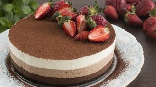 No-Bake Triple Chocolate Mousse Cake Recipe by Home Cooking Adventure