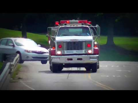 Hi-Lo Siren in Action. GMC Trucks Fire Tanker Responding Code 3 Light Bar on.