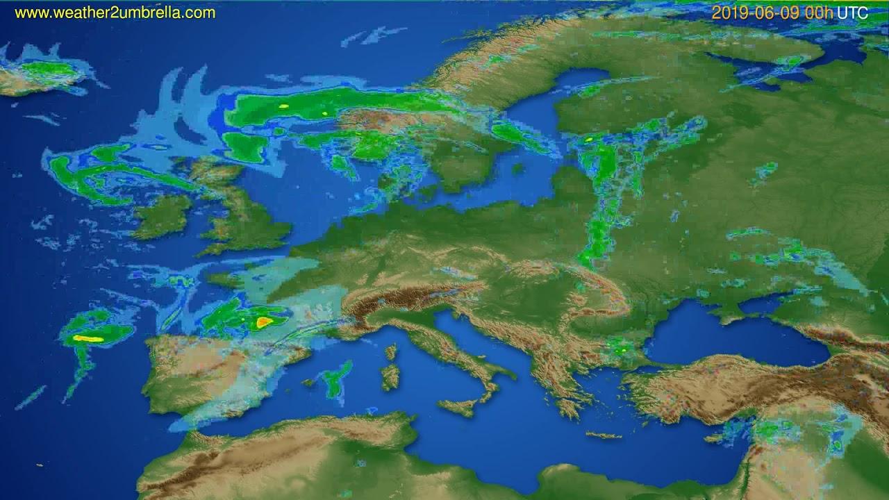Radar forecast Europe // modelrun: 12h UTC 2019-06-08