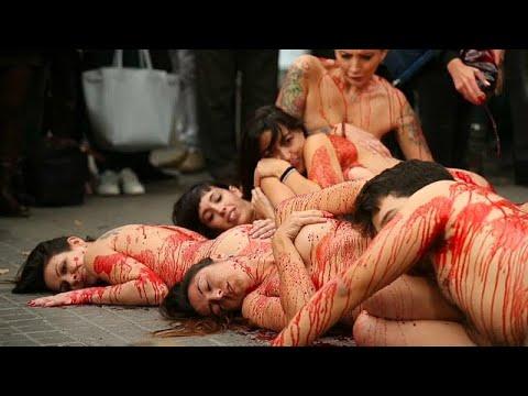 Barcelona: Nacktdemo für Tierrechte - gegen Leder- und Fellbekleidung