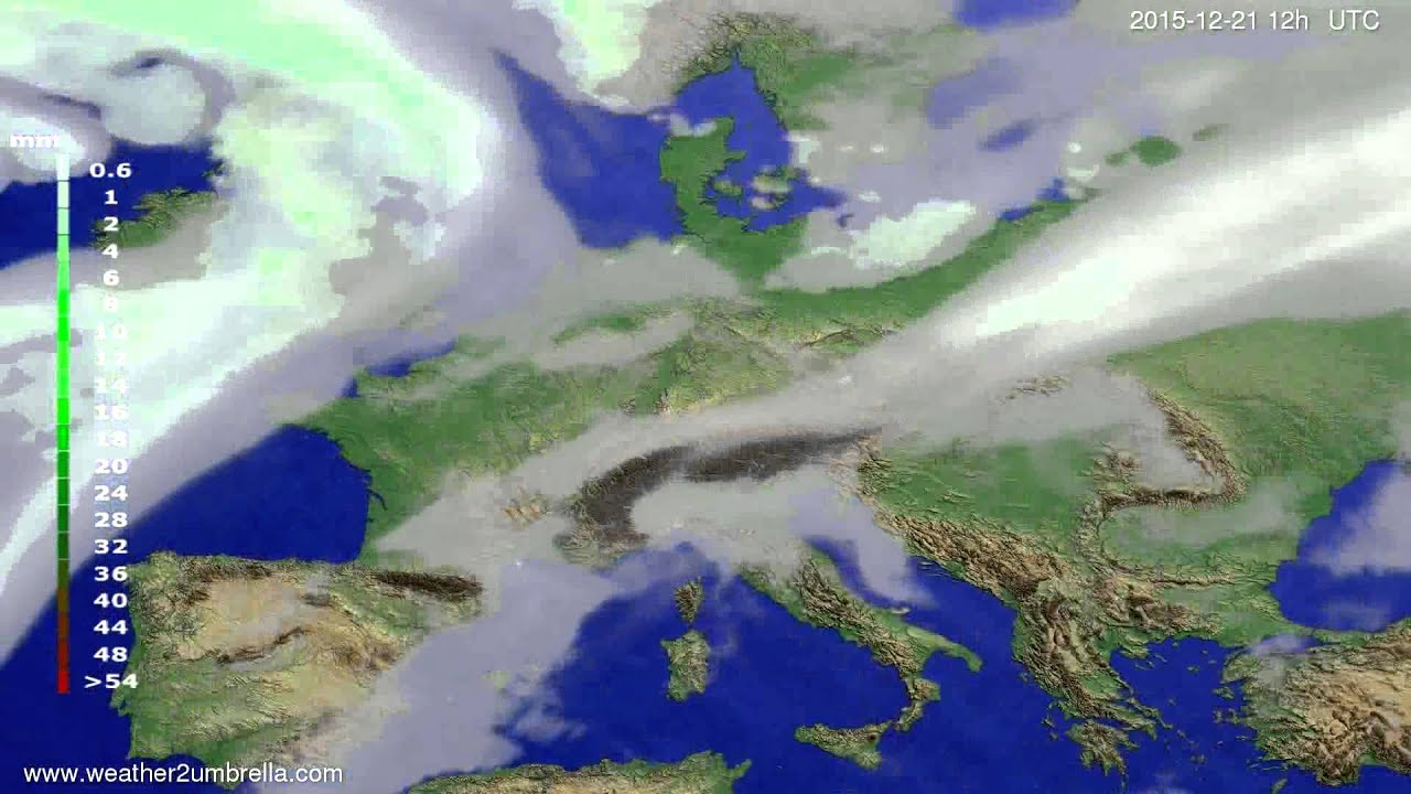 Precipitation forecast Europe 2015-12-17