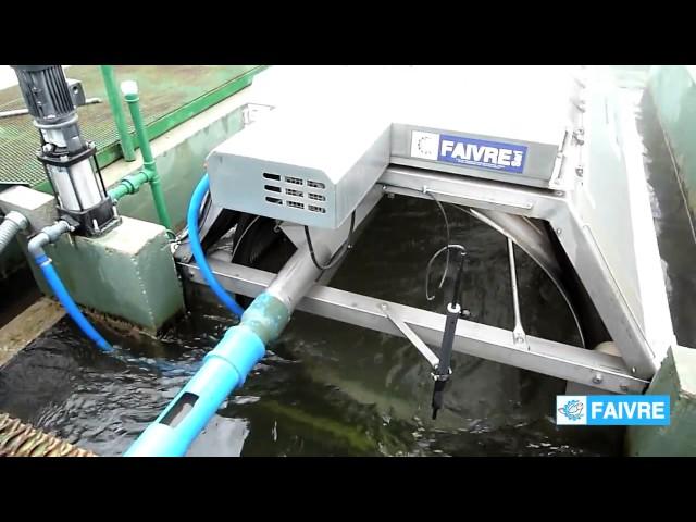 Работа барабанного фильтра модели 24 160 в аквакультуре ячейка 120 мкм, 2400 м3 ч    FAIVRE RU