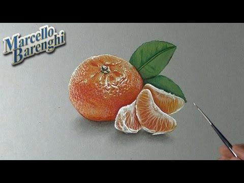 How I draw a mandarin orange – realistic drawing