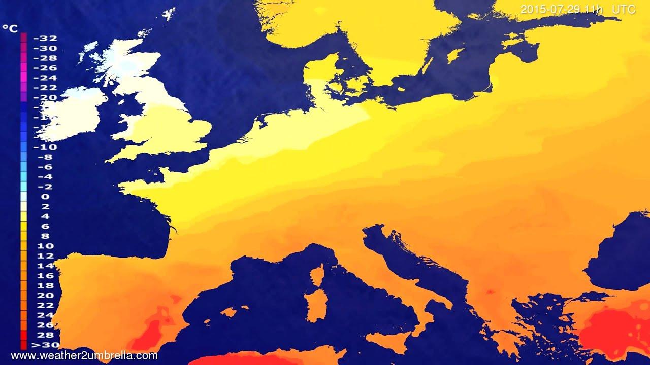 Temperature forecast Europe 2015-07-27