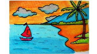 Download Video cara menggambar pemandangan alam pantai dengan krayon oil pastel (versi lambat) MP3 3GP MP4