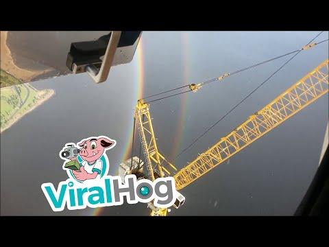 Amazing Footage of a Circular Rainbow as Viewed Atop of a Skyscraper Crane in St Petersburg
