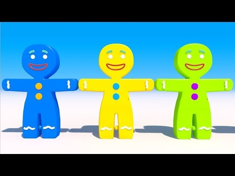 Learning Colors with 3D Gingerbread Man for Kids