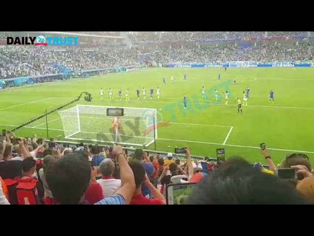 Nigerians in Russian stadium shouted 'over the bar' before Iceland lost their penalty - VIDEO