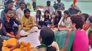 Priyanka Gandhi interacts with students in Prayagraj during boat ride