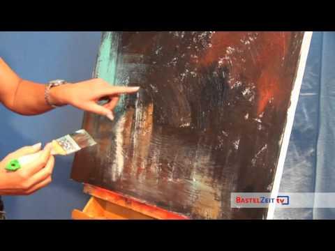 BastelzeitTV 72 - Acrylbild Schnecke mit Strukturpaste und Patina