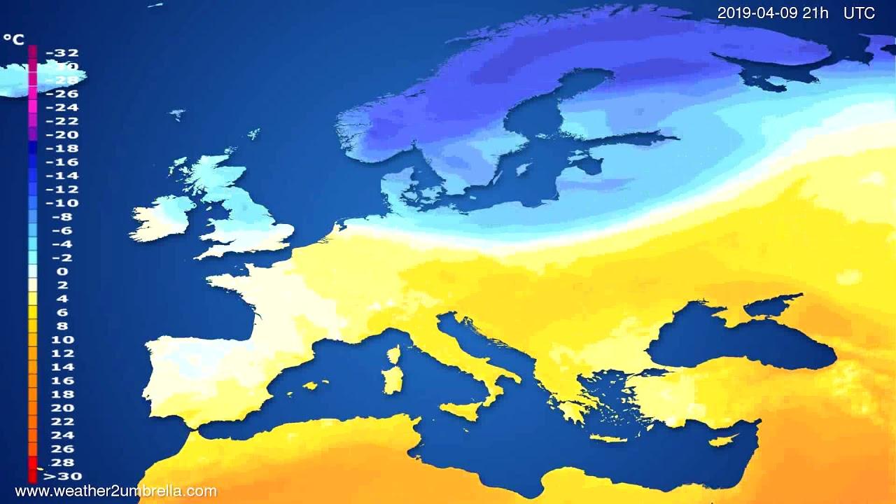 Temperature forecast Europe // modelrun: 12h UTC 2019-04-07