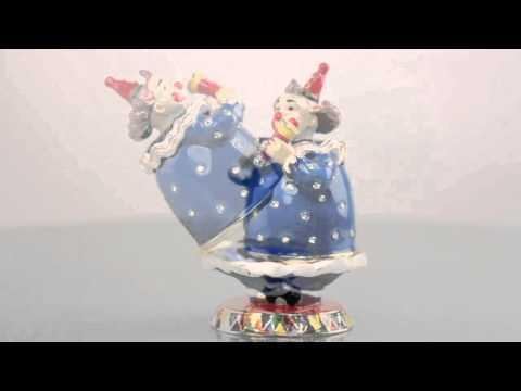 Blue Clown Faberge style Trinket Box by Keren Kopal Swarovski Crystal
