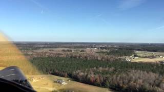 Saturday, Nov 21, 2015 was a perfect day to go flying in North Carolina! I was lucky to get a ride on this original Piper J-3 Cub with pilot Mike Day at our EAA meeting at South Oaks Aerodrome. We went up for a quick flight and looked for eagles near South Oaks but we didn't see any flying around. We returned to the field with Mike doing a right-base-final landing on runway 07.