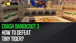 "This video shows how to defeat Tiny Tiger in ""Crash Bandicoot 3: Warped"" for the PS4. This is the first boss fight in the game, but it's not that easy. The fight starts off by Tiny Tiger performing leaps and you must start jumping around as well to avoid him. He will finally perform a trident attack and after his unsuccessful attempt you must quickly approach him and use a Spin attack on him. He will lose one health point and send small tigers after you. This is the hardest part, but you can make it easier by placing Crash in the lower left or the lower right corner of the arena. Don't move and don't try to jump. Instead just use the Spin attack on all tigers heading your way. Getting rid of 4-5 of them will allow you to resume the fight with Tiny Tiger. You must now repeat all of the steps described above to make Tiny Tiger lose two remaining health points.► MORE GAME GUIDEShttp://guides.gamepressure.com/► FOLLOW UShttps://twitter.com/gamepressurecomhttps://www.facebook.com/gamepressurecom"