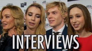 American Horror Story Coven Interviews! Emma Roberts, Evan Peters, Taissa Farmiga, Jessica Lange!